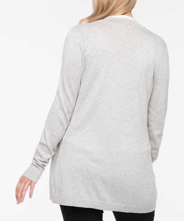 Colourblock Open Cardigan, Pearl/Grey, hi-res