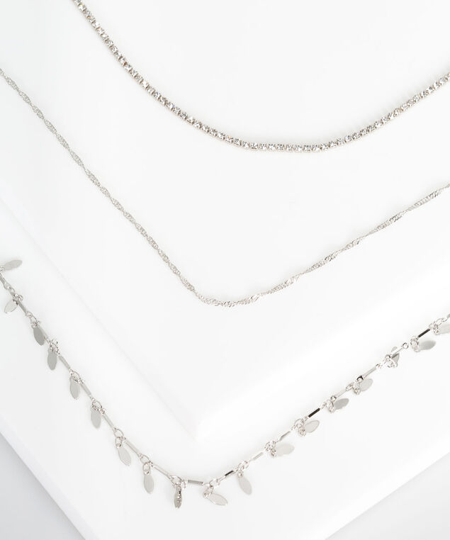 Crystal & Stationed Leaves Necklace, Rhodium, hi-res