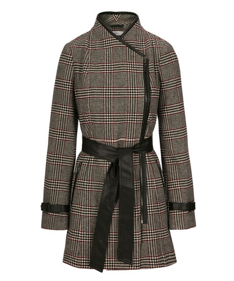 Belted Funnel Neck Coat, Black/Port/Milkshake, hi-res