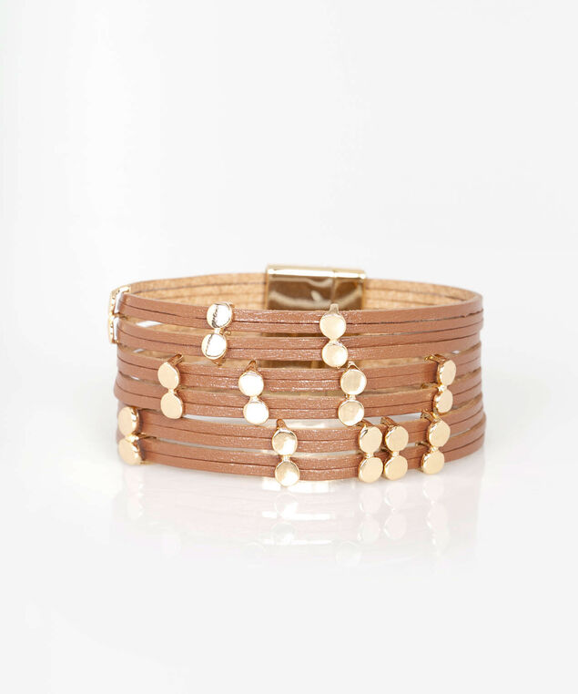 Smooth Studded Wrap Bracelet, Chili/Gold, hi-res
