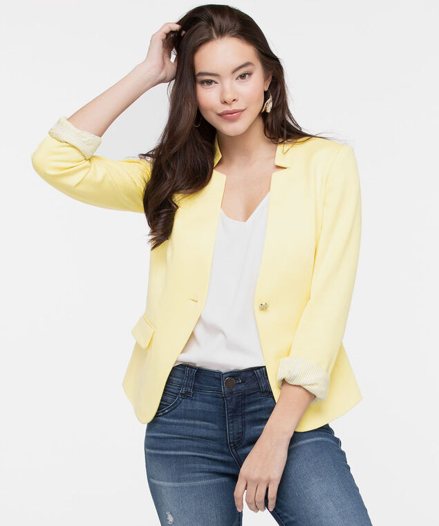 Inverted Notch Collar Blazer, Sunshine, hi-res