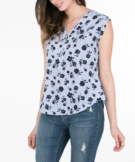 Extended Sleeve Zip-Front Blouse, Blue/Deep Sapphire, hi-res