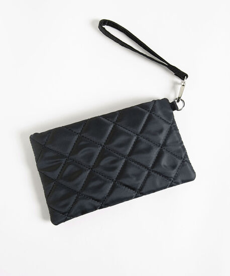 Quilted Everyday Essential Pouch, Black, hi-res
