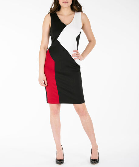 Colourblock V-Neck Sheath Dress, Black/Pearl/Red, hi-res