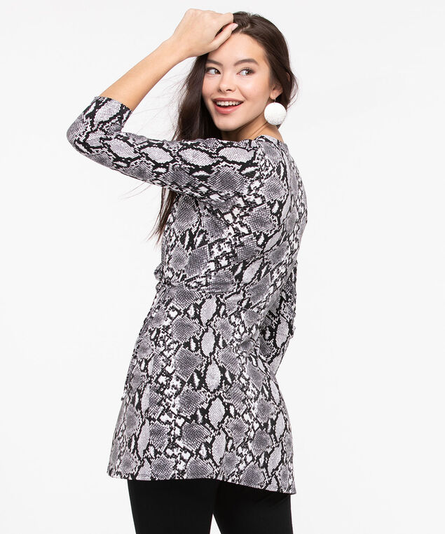 Python Print Wrap Tunic, Charcoal/Black/Pearl, hi-res