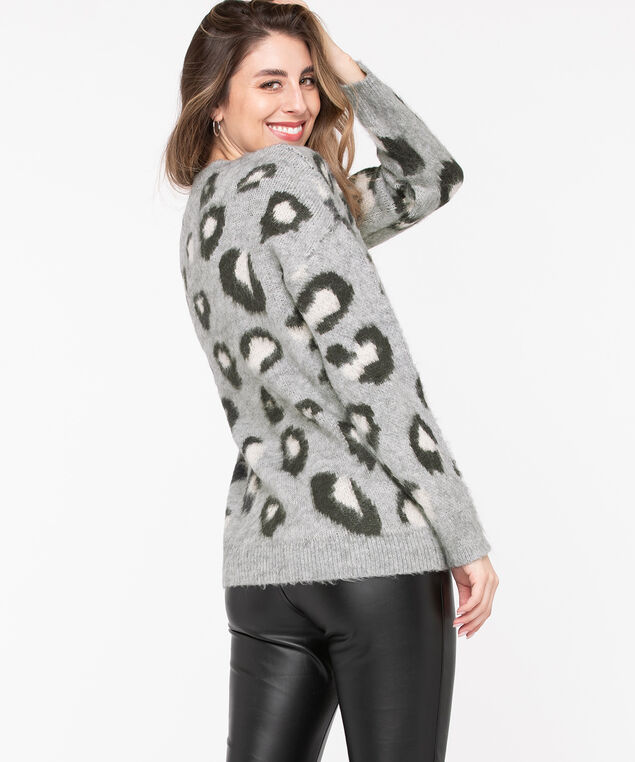 Leopard Print Tunic Sweater, Grey/Charcoal, hi-res