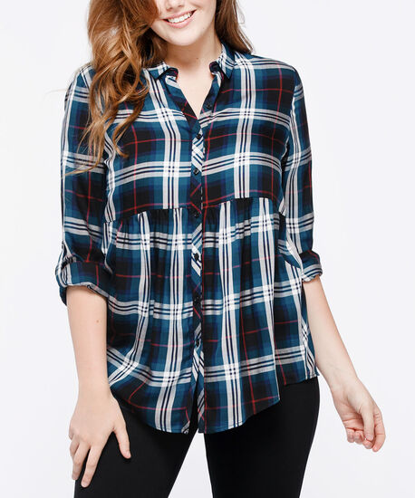 Roll Sleeve Collared Plaid Blouse, Steel Blue/Burgundy/Pearl, hi-res