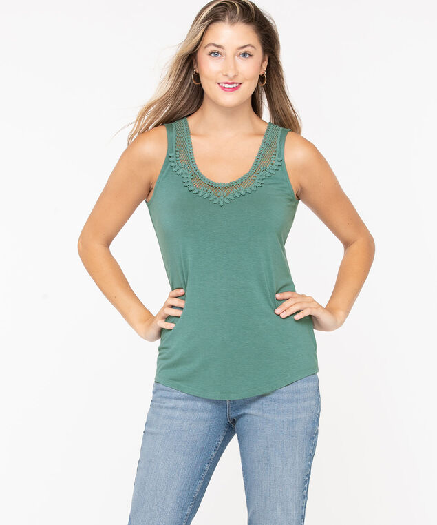 Crochet Applique Tank , Teal, hi-res