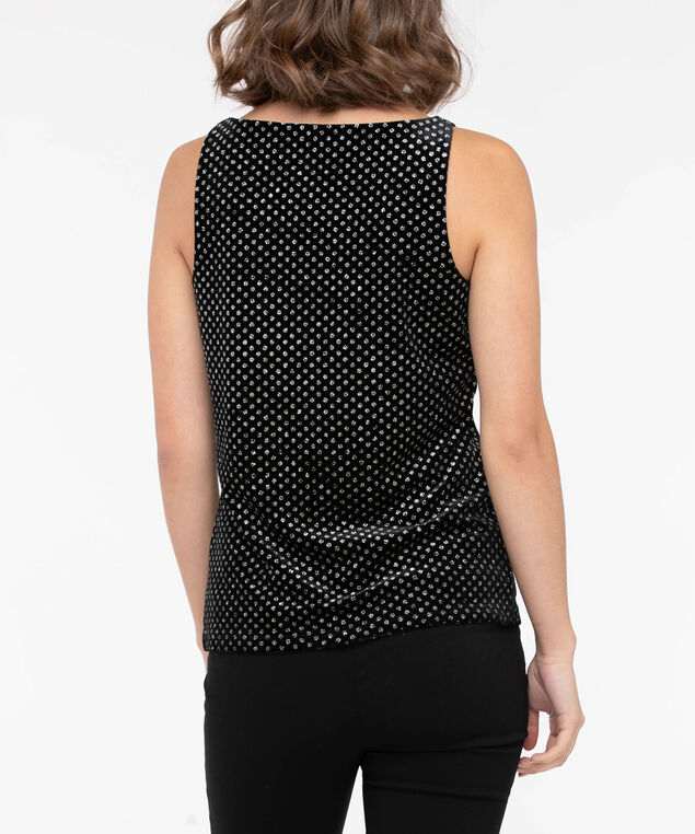 Sleeveless Printed Velvet Top, Black, hi-res