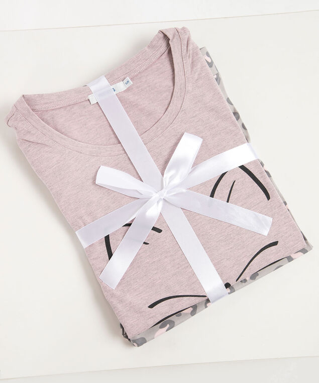 Minimalist Cat Pajamas, Dusty Pink/Black/Grey, hi-res