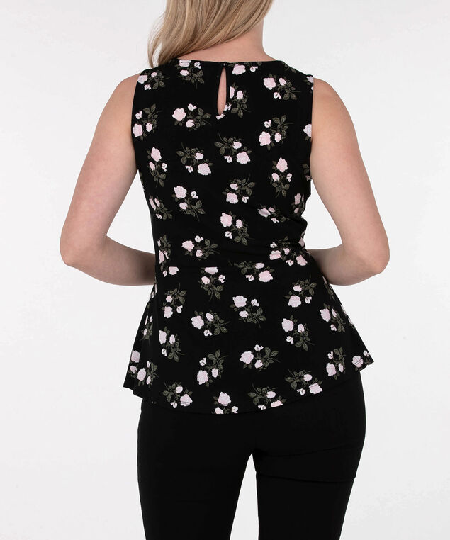 Sleeveless Asymmetrical Peplum Top, Black/Cameo Pink/Olive, hi-res