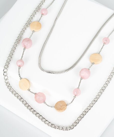 Wooden Circle & Bead Layered Necklace, Silver/Rose Petal, hi-res