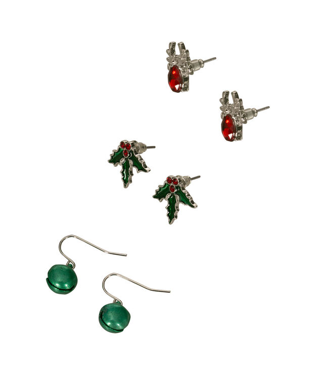 Festive Holiday Earring Set, Red/Green/Rhodium, hi-res