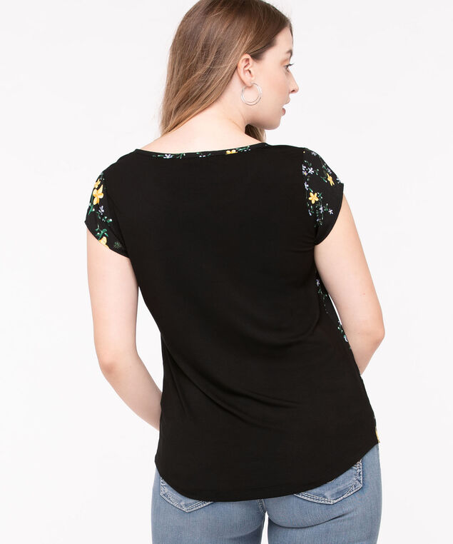 Mixed Media Pocket Front Top, Black Pattern