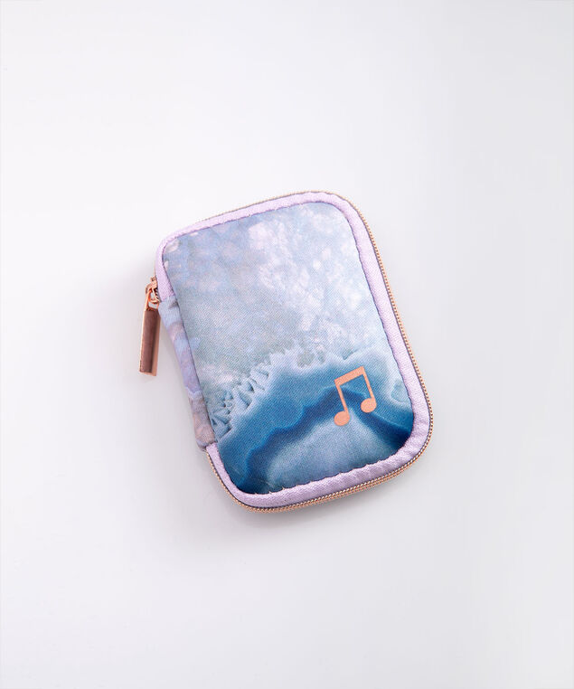 Marble Print Ear Bud Case, Lilac/Rose Gold/Teal, hi-res