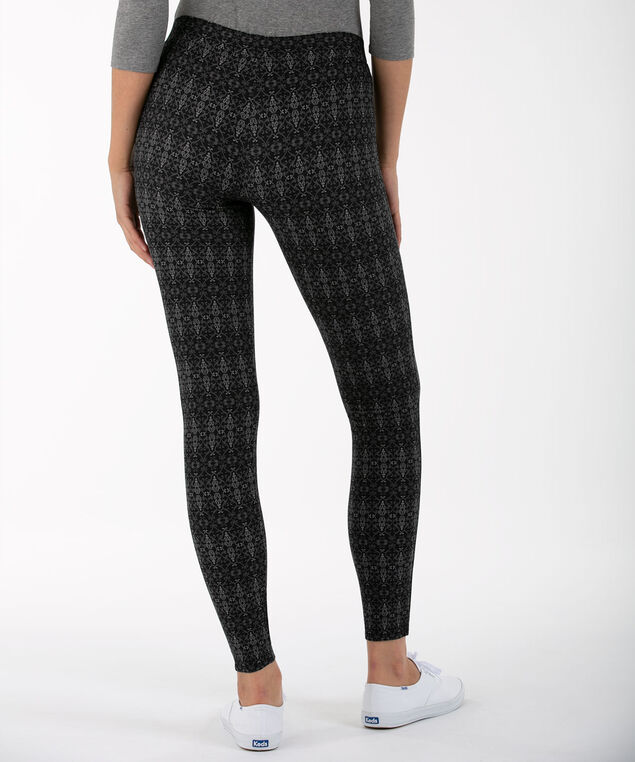 Damask Plush Knit Legging, Charcoal, hi-res