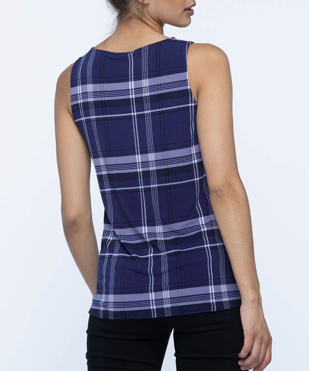 Silver-Link Neckline Sleeveless Top, Blue/Black/White, hi-res