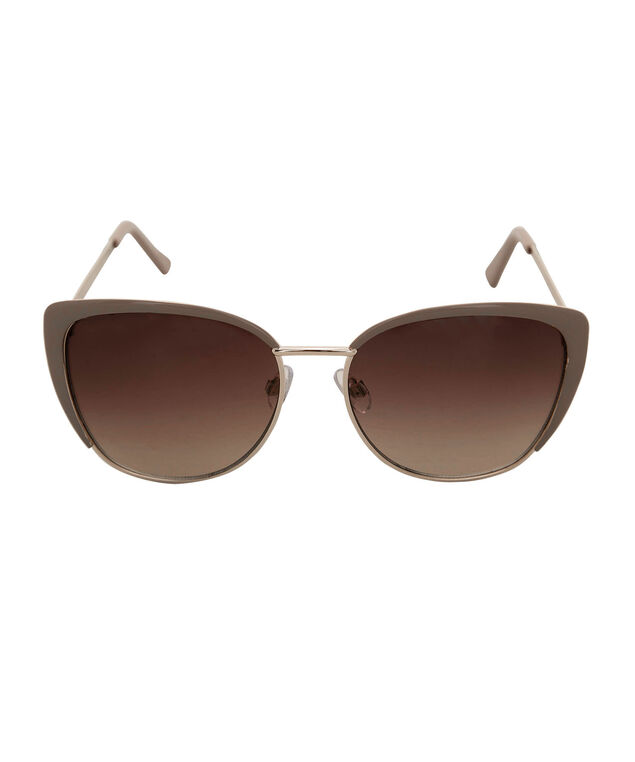 Metal Framed Cateye Sunglasses, Taupe/Gold, hi-res