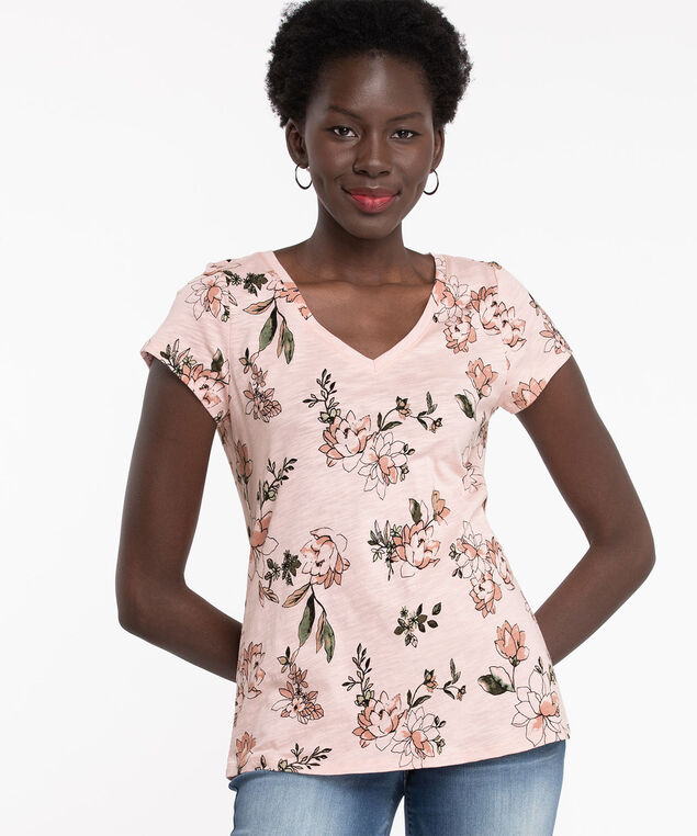 V-Neck Graphic Tee, Rose Smoke Floral