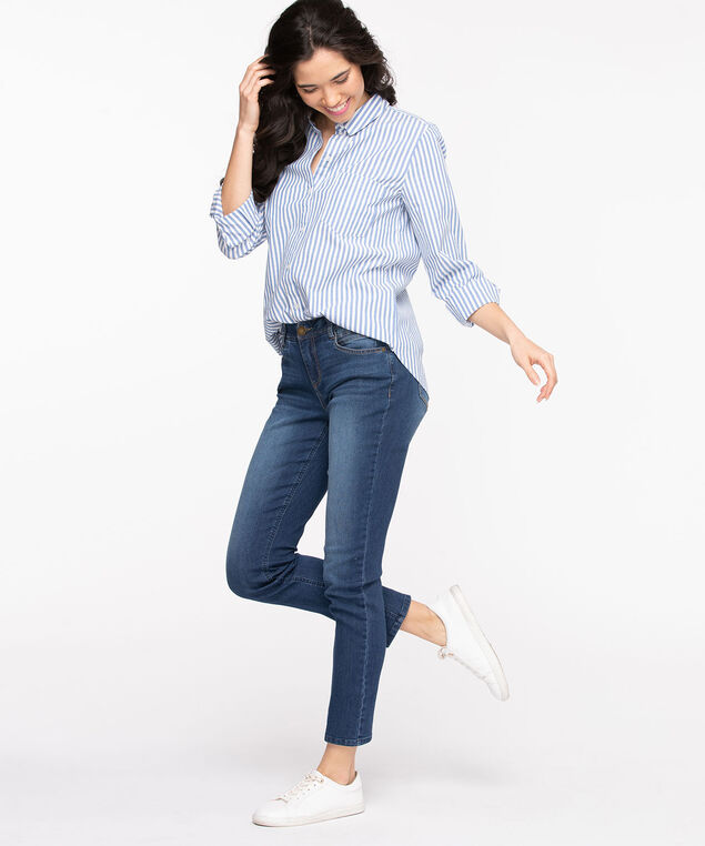 Classic Collared Button-Up Shirt, White/Angel Blue Stripe