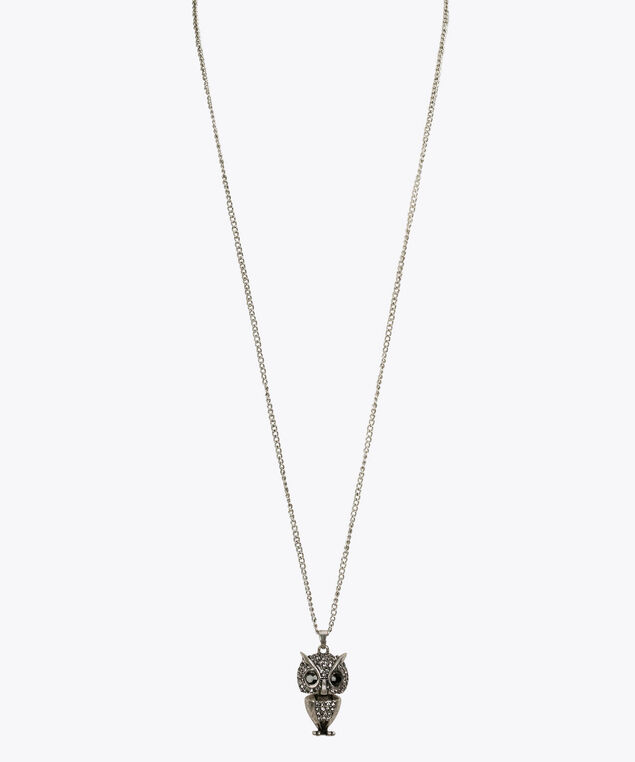 Crystal Owl Pendant Necklace, Rhodium/Black, hi-res