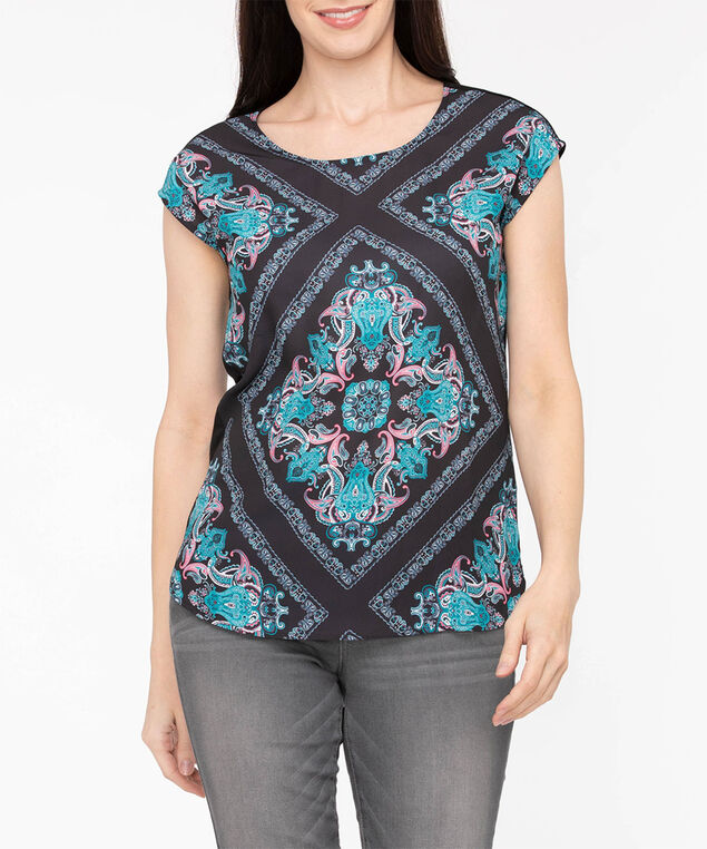 Extended Sleeve Mixed Media Top, Black/Strawberry/Teal, hi-res
