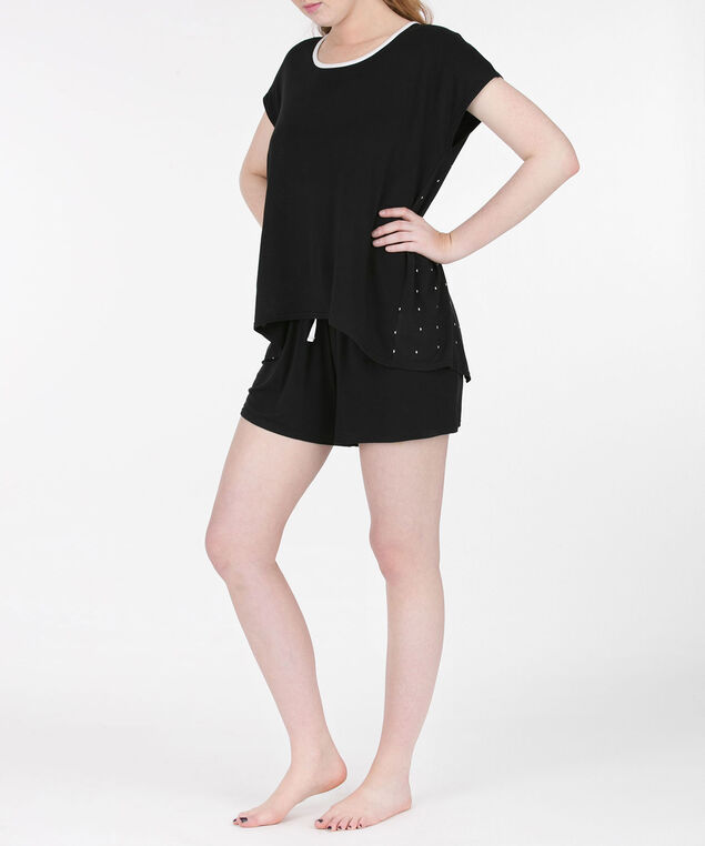 Flyaway Short Pajama Set, Black/White, hi-res