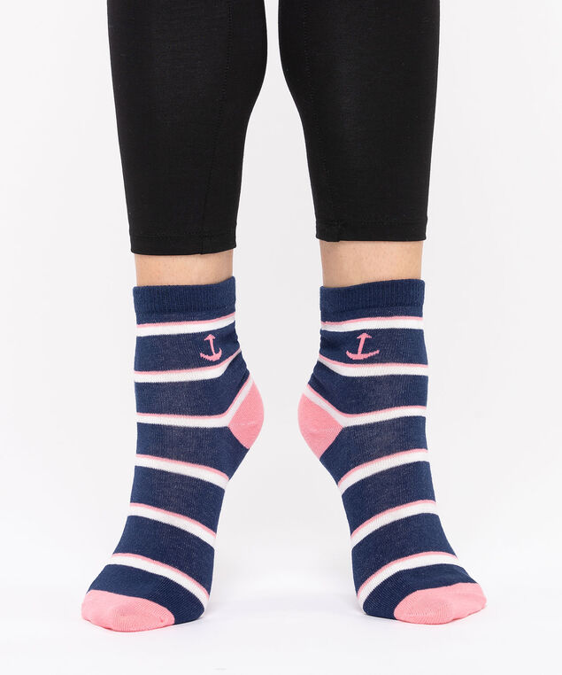 Stripe & Anchor Crew Socks, Summer Navy/Rose Petal/Pearl, hi-res