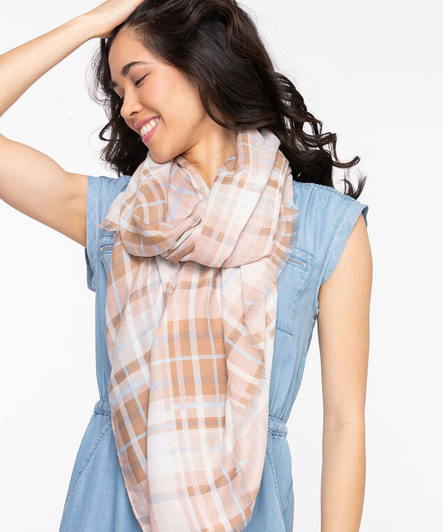 Plaid Lightweight Rectangle Scarf, Heather/Nomad