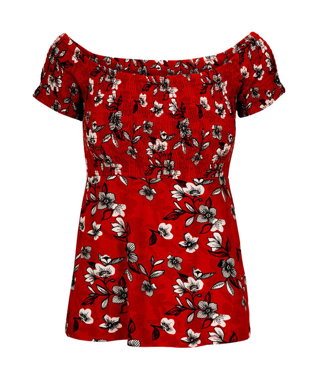 Off-The-Shoulder Smocked Top, Cherry/Black/Milkshake, hi-res
