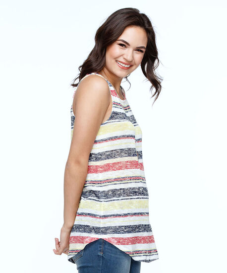 Sleeveless Striped Lightweight Knit Top, Navy/Soft Yellow/Mid Pink, hi-res