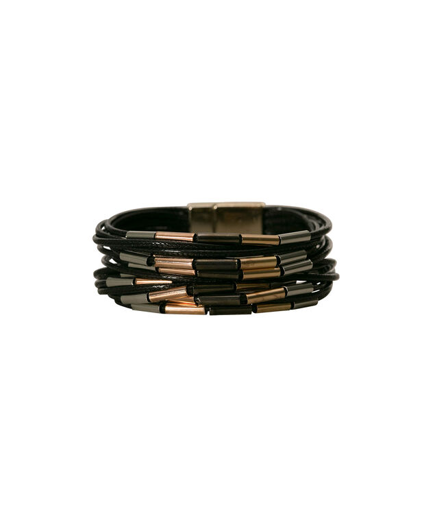 Mixed Metal & Cord Wrap Bracelet, Black/Rhodium/Soft Gold, hi-res