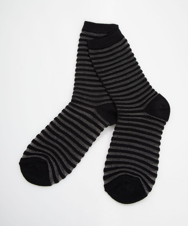 Lurex Striped Trouser Sock, Black, hi-res