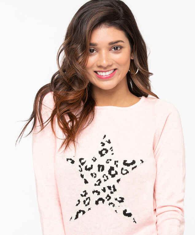 Leopard Print Star Pullover Sweater, Rose Petal/Grey/Black, hi-res