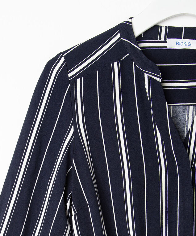 Long Sleeve Stripe Shirt Dress, Summer Navy/Pearl, hi-res