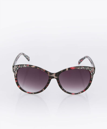 Crystal Temple Printed Frame Sunglasses, Brown, hi-res