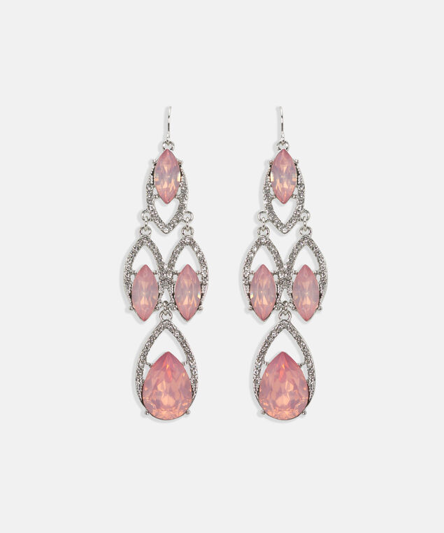 Faceted Stone & Crystal Chandelier Earring, Rhodium/Soft Pink, hi-res