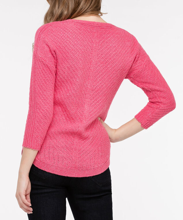 V-Neck Rounded Hem Sweater, Strawberry, hi-res