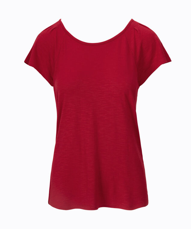 Pintuck Keyhole Back Top, Poppy, hi-res