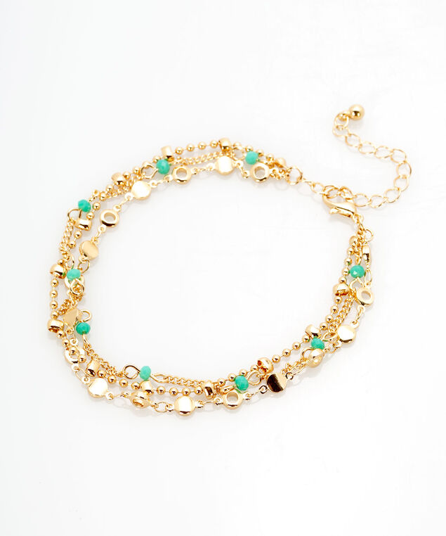 Layered Chain Anklet, Gold/Turquoise, hi-res