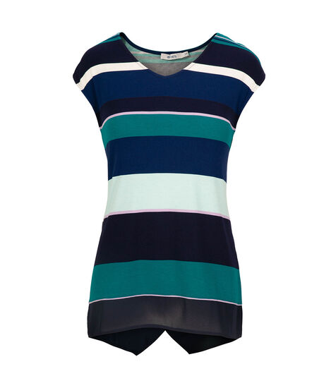 Chiffon Trim V-Neck Top, Navy/Teal/Iced Violet, hi-res