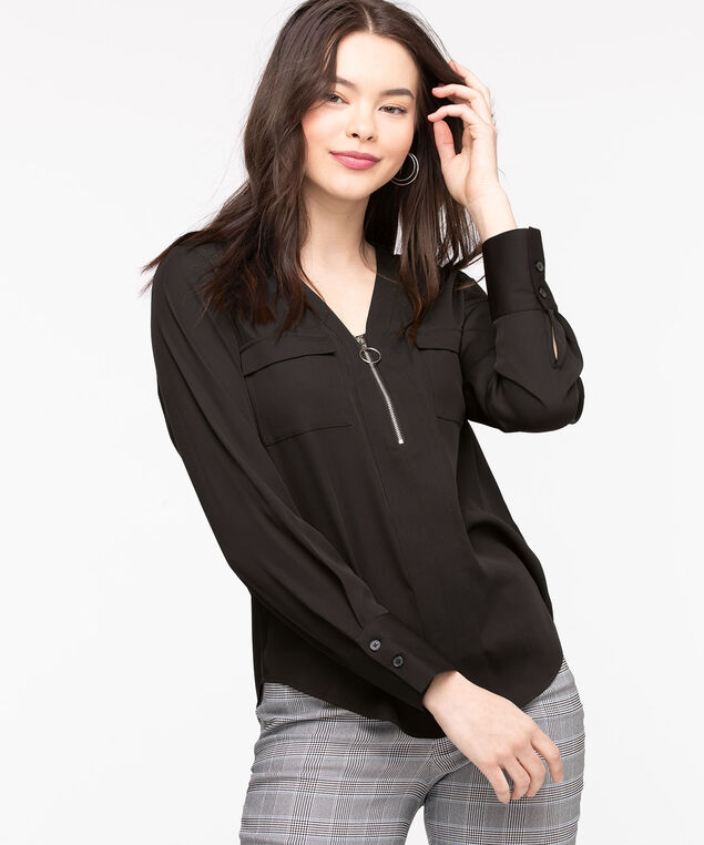 Zipper Detail Pocket Front Blouse, Black