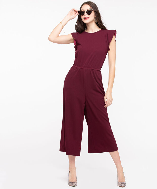 Flutter Sleeve Crossover Back Jumpsuit, Burgundy, hi-res