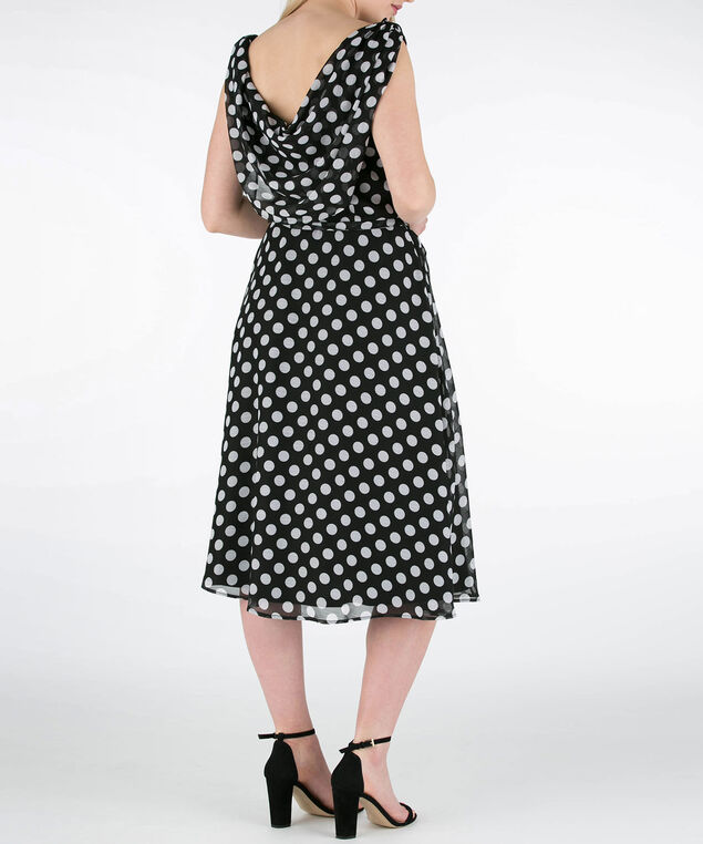 Polka Dot Sleeveless Chiffon Dress, Black/Pearl, hi-res