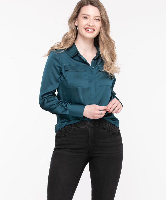 Collared Hidden Button Satin Blouse, Reef Waters