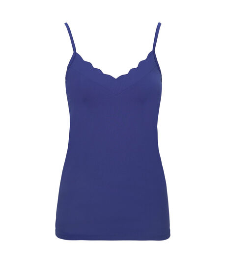 Strappy Scalloped Neck Cami, Mid Blue, hi-res