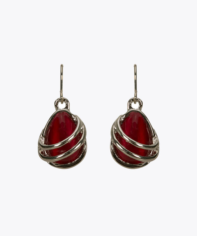 Teardrop Cateye Swirl Earring, Poppy/Rhodium, hi-res