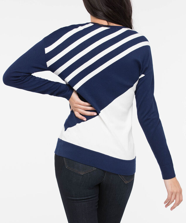 Diagonal Stripe Scoop Neck Sweater, Deep Sapphire/Pearl, hi-res