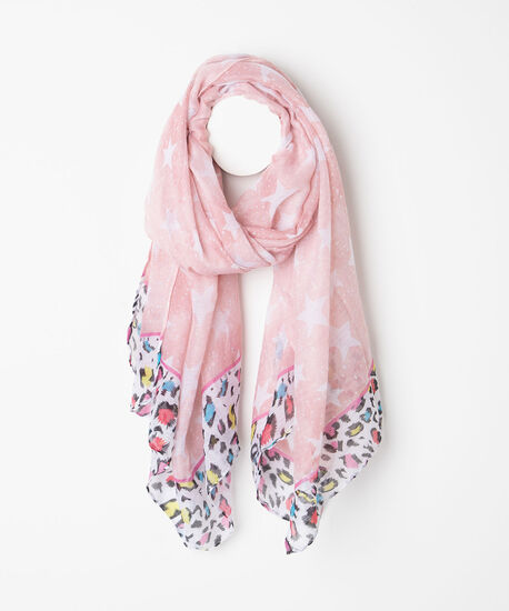 Starry Mixed Print Oblong Scarf, Rose Petal/Pearl/Black/Pink, hi-res