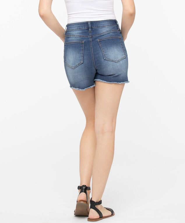 High Rise Fray Hem Short, Mid Wash, hi-res